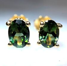 Genuine AA 1.56 ct Green Tourmaline Stud Earrings 14 K Yellow Gold Oval 7x5 mm