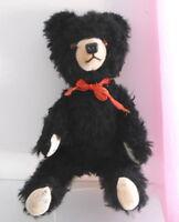 "Vintage 15"" Long Black Hair Teddy Bear - Mohair Mussel."