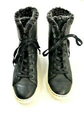 Ugg Navy Blue Leather Fur Lined Hi Top Lace Up Sneakers Womens EU 40 US 9