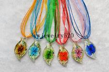 Wholesale lots 18Pcs Flower Murano Glass Pendant Silver P Necklace FREE
