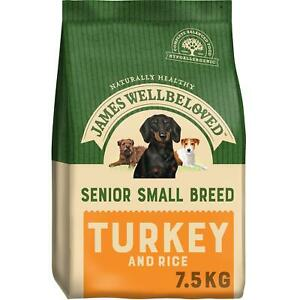7.5kg James Wellbeloved Senior Small Breed Complete Dry Dog Food Turkey & Rice