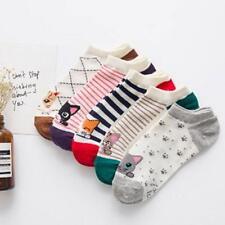 Cat Socks 5 Pairs Set Lot Cut Low Ankle Women Cute Cartoon Striped Cotton Girls