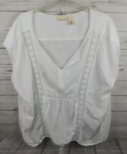 DKNY Gauze Top Size 26W 28W White Crochet Trim Sleeveless