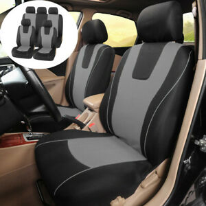 9 Pieces Universal Seat Protector Front Rear Full Set Car Seat Covers Black/Grey