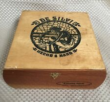 "De Silvi  Hand Made in Nicaragua wood CIGAR box~7.5""x7""x3""~Good for 25 Cigars!"