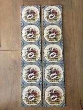 J DAY  Fireplace Tiles (set 10) - STOVAX 4059 POPPIES / Floral Border BNIB