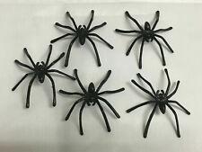 5x Spinne Schwarz Scherz Fake Artikel Basteln Deko Halloween Herbst Kunststoff
