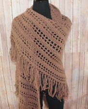 Tan Brown Shawl Wrap S M L XL Hand Crochet with Fringe Boho Hippie knit