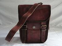 "9"" Brown Leather Crossbody Bag Satchel Messenger Purse Handbag Sling Bags"