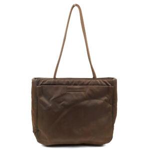 PRADA Tote Bag Nylon Brown Triangle Logo