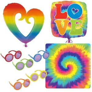1960's Groovy Peace Love Decade Party Tableware, Decorations and Balloons