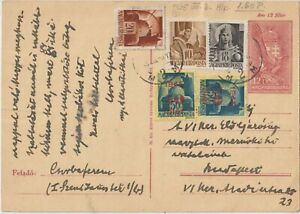 1945 HUNGARY MULTIFRANCHISING  POSTAL STATIONERY CARD COVER TO BUDAPEST