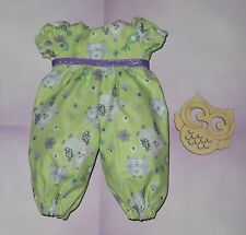 "Handmade Doll Clothes for 12"" - 14"" Baby Dolls - ""Hoot!"" Owl Green Long Romper"