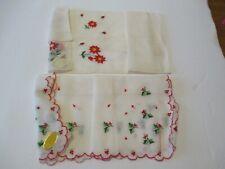 Vintage Christmas Ladies Handkerchief Pair Holly Red Trim Switzerland