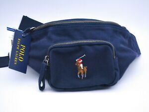 Polo Ralph Lauren Navy Blue Canvas Bum Bag Shoulder Bag Fanny Pack New