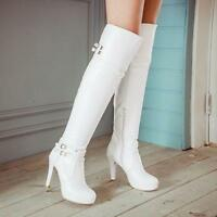 Size 4-11 Women Buckle Zip Gladiator Chunky Heel Over Knee Thigh High Boots Sbox
