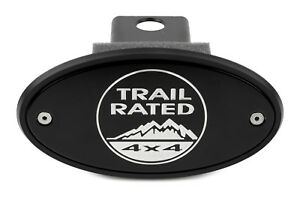 Jeep Trail Rated Receiver Hitch Cover - Black - Silver Engraving - Made in USA