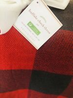 "Pottery Barn Red Black Buffalo Check Plaid Throw 50x60"" Christmas Decor Blanket"