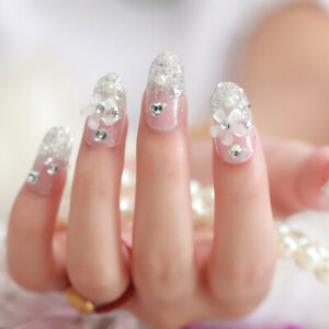 24 pcs shining rhinestone false nails transparent square full short fake F`sy