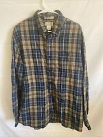 LL Bean Mens Flannel Slightly Fitted Shirt Long Sleeve Blue Green Size XL