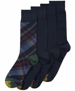 Size 6-12.5 Men's 4 Pack Gold Toe Martin Plaid Dress Crew Socks 3600F Navy/Green