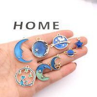8PC Cute Moon/Star/Planet Enamel Charm Pendant For DIY Earrings/Bracelet Craft.