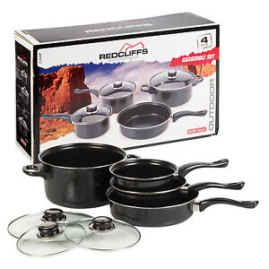 7pc Non Stick Cookware Pot & Pan Set With Glass Lids Easy Clean Coating Kitchen