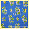 BonEful Fabric FQ Cotton Quilt VTG Blue Yellow Flower Cottage Shabby Chic Retro