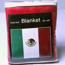 Mexico Flag Fleece Blanket NEW 5 ft x 4.2 ft. Mexican Cobija Bandera Throw Cover