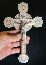 ANTIQUE RELIGIOUS CATHOLIC JERUSALEM MOTHER OF PEARL CRUCIFIX CROSS 9""