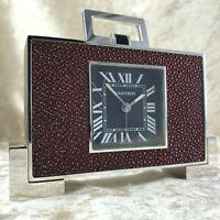 RARE Vintage Cartier 2749 Bordeaux Galuchat Shagreen Leather Desk Alarm Clock