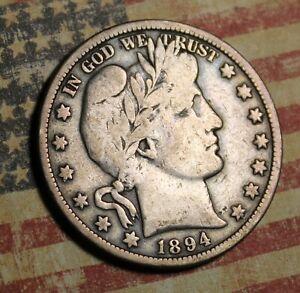 1894 BARBER SILVER HALF DOLLAR COLLECTOR COIN FREE SHIPPING