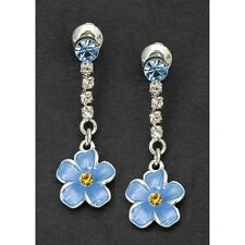 Equilibrium Forget me Not Long Flower Silver Plate Earrings Gift Love, in Memory