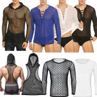 Mens Mesh See-Through Long Sleeve  Breathable T-Shirt Tee Top Muscle Casual Club
