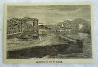 1882 magazine engraving ~ LEQUEITIO, ON BAY OF BISCAY ~ harbor scene