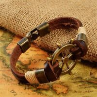 For Men Stainless Steel Nautical Charm Rope Bracelet Leather Anchor Rudder