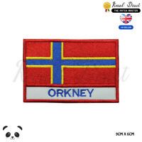 ORKNEY Scotland County Flag With Name Embroidered Iron On Sew On Patch Badge