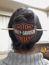 Harley Davidson Cycles Leather Hair Slide Barrette Bar & Shield  Embroidered Big
