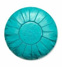 Moroccan Leather pouf Handmade Ottoman Luxury Pouffe Turquoise  Footstool