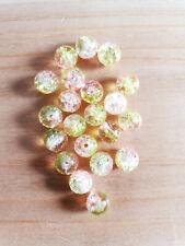 Glasperlen Crackle fuchsia rosa  8 mm 104 Stück Schmuck Basteln Perlen G78