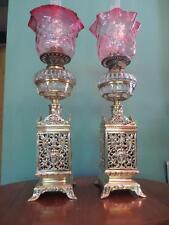 PAIR ORIGINAL ANTIQUE VICTORIAN(CIRC1890)OIL LAMPS- CRANBERRY GLASS TULIP SHADES