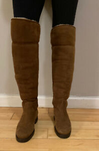 Loro Piana 3k Over the knee Brown Shearling Lined Boot 37 6
