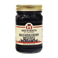 House of Webster Wild Huckleberry Preserves 17.5 oz Jar Jam Fruit Berry Spread