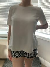 Topshop White Chiffon Blouse Drape Crossover Back  Size 6