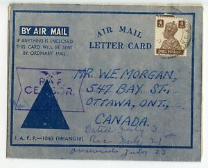INDIA A/M LETTERCARD, WW II RAF CENSOR, LONG MESSAGE, 4A RATE TO CANADA  (B47)