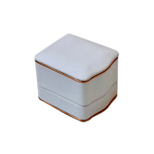 Luxury White Leatherette Ring Box, High Quality ring box with Rose gold trim