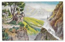 INDIAN WATCHING APPROACHING STAGECOACH,FROM PAINTING BY L.H.LARSEN,POSTCARD 1946