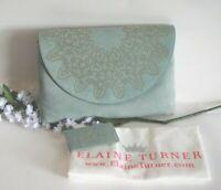 ELAINE TURNER ~ Beth ~ Blue Misty Fog Suede Nubuck Leather Beaded Clutch Purse