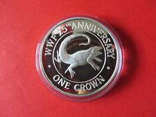 WWF TURKS & CAICOS / One Crown / Silbermünze Silver Coin / Leguan Iguana