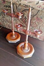 Pair American Adjustable Figured Maple Candlestick. Late 18th Early 19th Century